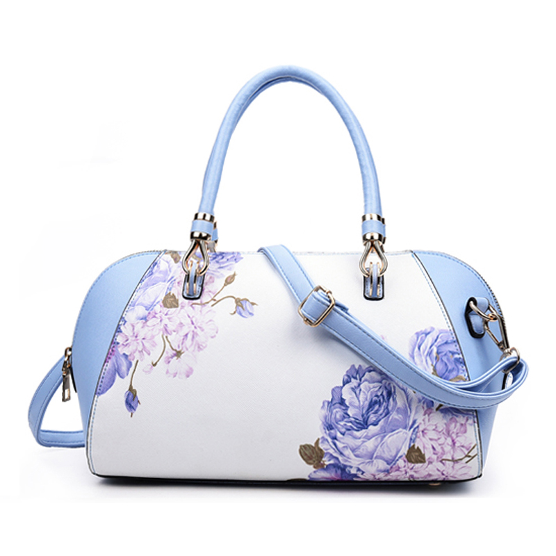 China Style Womens Casual Handbags Ladies Cross-Body Bags Leather Messenger Shoulder Bag Baguette Tote Blue and white porcelain