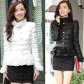 Mulheres jaqueta de inverno das mulheres para baixo casaco fino Magro rendas das mulheres fêmea do casaco curto para baixo casacos de inverno casaco menina primavera outono