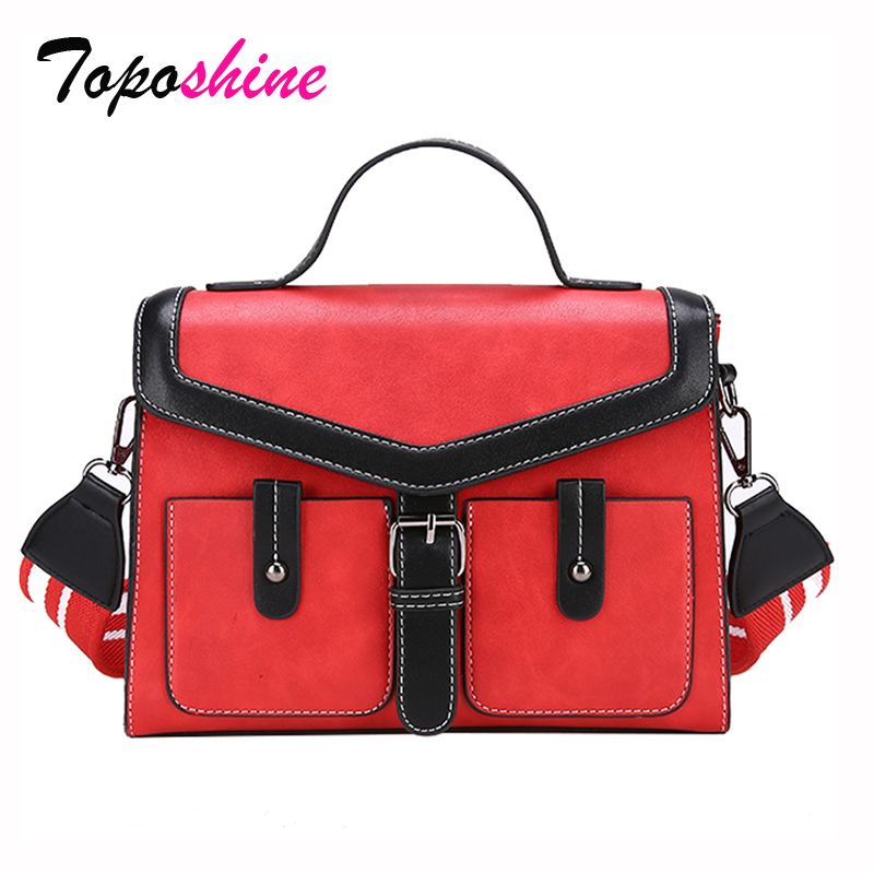 2018 New Korean Fashion Personality Hit Color Saddle Bag Wild Casual Simple Wide Shoulder Strap Portable Shoulder Messenger Bag new winter casual big bag korean version of the retro simple small bag wild fashion messenger shoulder messenger bag tide