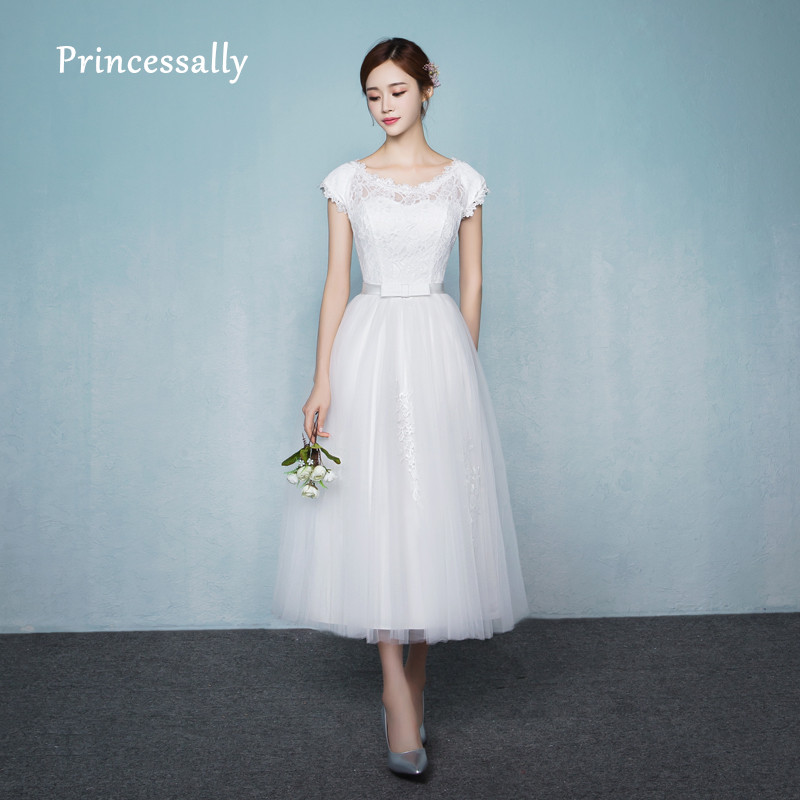 Simple Elegant Tea Length Chiffon Cap Sleeve Wedding: Robe De Soriee New White Bridesmaid Dresses Tea Length