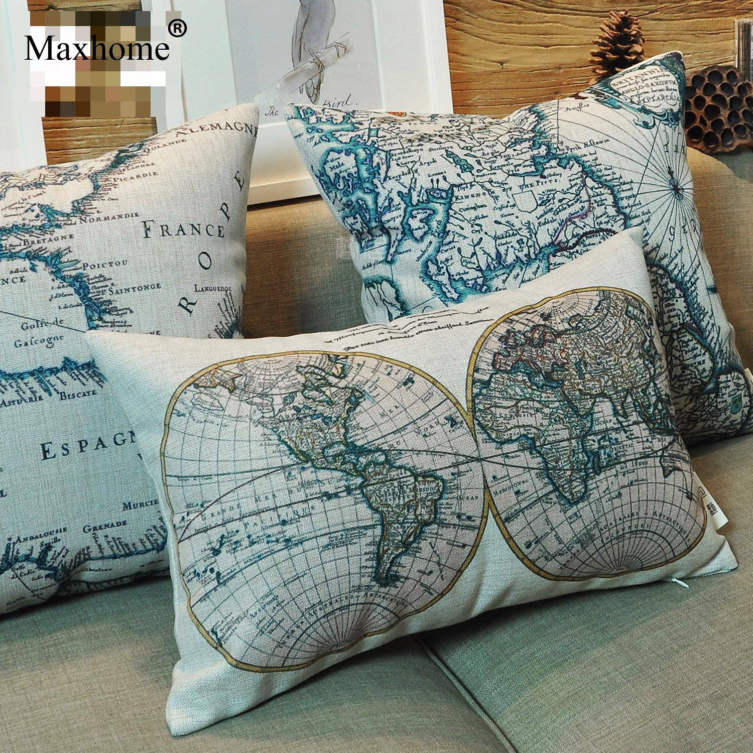 American Country Style Linen Cotton Pillowcase Retro Nautical Map Printed Cushion Decorative Pillow Home Decor Throw Pillow