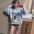 2016 Coréia Harajuku Estilo College Vento Costura Moletons Feminino Casal Namoradas Dos Desenhos Animados Casaco de Veludo