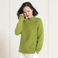 100 Pure Cashmere Women Fasahion Thick Keep Worm Loose Half Turtleneck Solid Jacket Diagonal Stripe Sweater