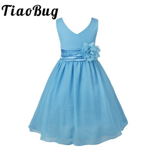 TiaoBug Trẻ Em Cô Gái V-Cổ Flower Girl Chiffon Dresses đối với Trẻ Em Cưới Lần Đầu Dresses Formal Đảng Prom Dress 2-14Y