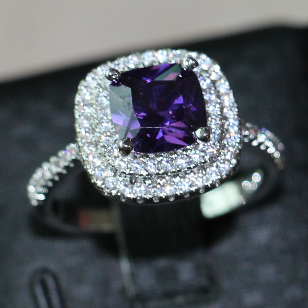 ladys gold created rings quality fine wedding zircon crystal engagement purple high jewelry stone party ring filled women black for