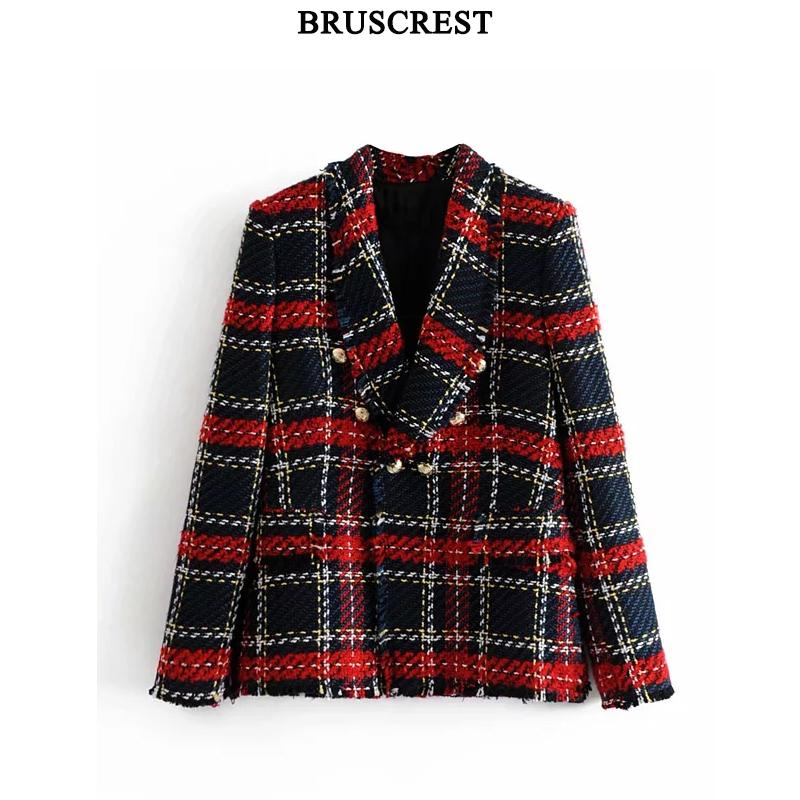 2019 Jacket Women Vintage Tweed Blazer Coat Women Double Breasted Tassel Suit Jacket Red Plaid Blazer Winter Office Jacket Women