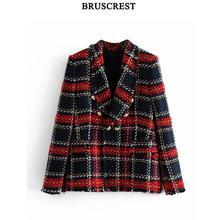 2019 Jacket Women Vintage Tweed Blazer Coat Women Double Breasted Tassel Suit Ja