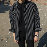 2018 Men's Hawaiian Casual French Cuff coats Fashion Cotton stripe Printing clothes Loose Sleeves Youth White/black Shirts S XL