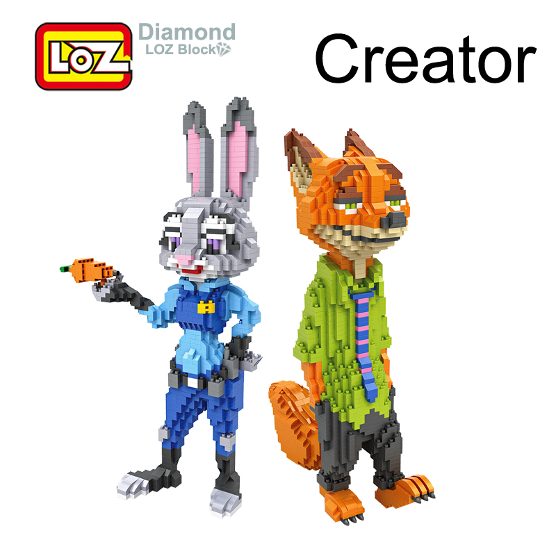 LOZ <font><b>Zootopia</b></font> Nick Fox <font><b>Judy</b></font> <font><b>Rabbit</b></font> <font><b>Animals</b></font> Mini Building 26 cm Diamond Blocks <font><b>Action</b></font> <font><b>Figure</b></font> <font><b>Toy</b></font> For Age 6+ Offical Authorized
