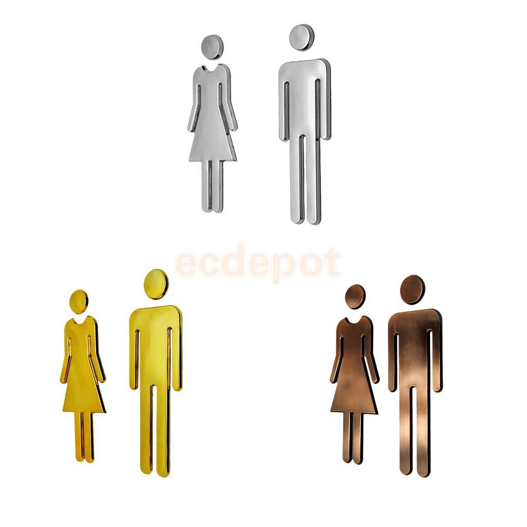 Пара мужчина и женщина wc стены стикеры наклейки двери туалета знаки Restroom Санузел табло налет серебра/бронза /золотой