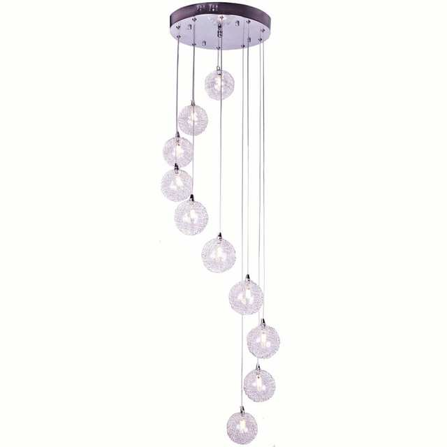 Us 165 32 Aluminum Wire Ball Dining Room Pendant Light 2m Height Spiral Stair Case Hanging Lamp Living Restaurant Lights In