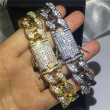 Vecalon Handmade Male Hiphop Chain Bracelet Micro Pave AAAAA Cz Yellow gold filled wedding Bracelets for men Party Rock Jewelry(China)