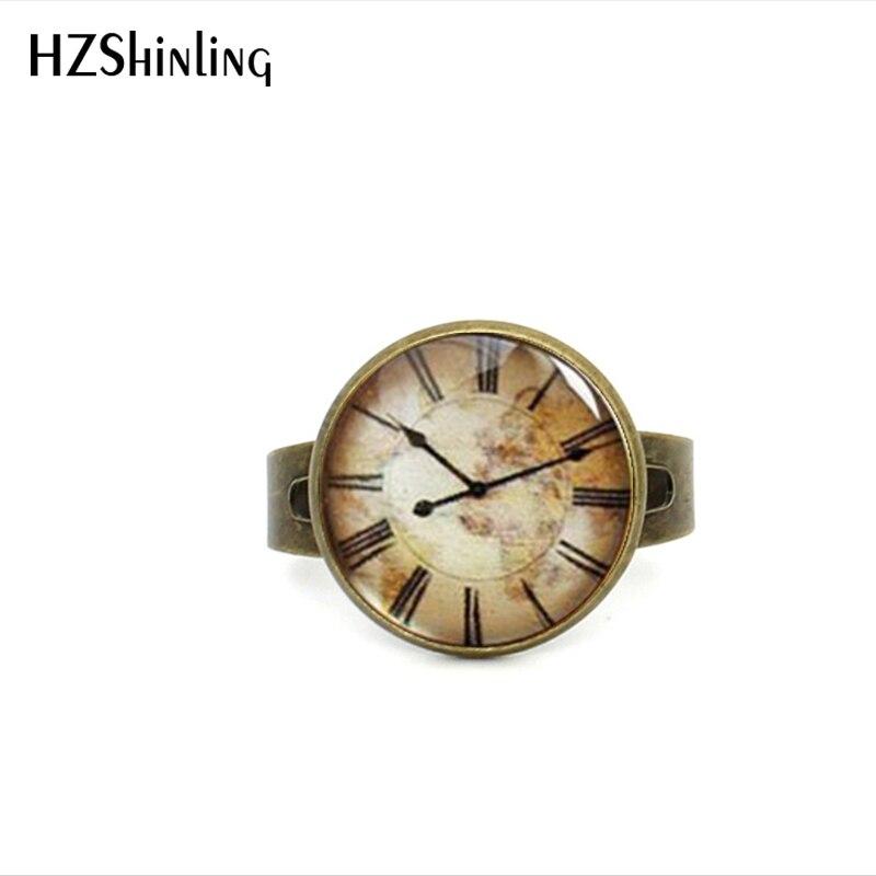 Кольцо-часы Женское регулируемое в винтажном стиле, ювелирное изделие из античной латуни, стеклянный кабошон, кольцо в стиле стимпанк, 2017