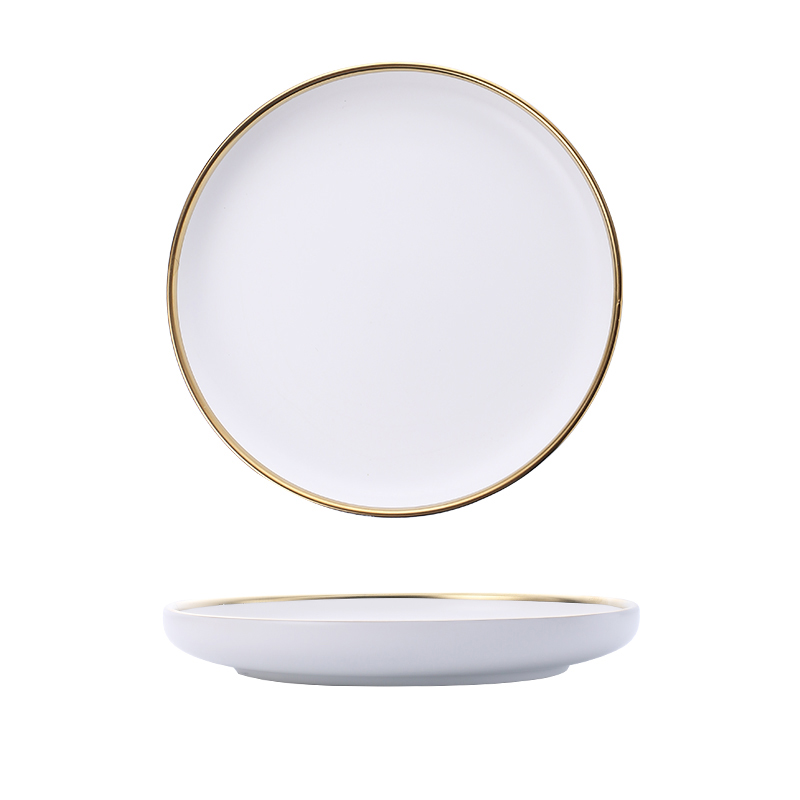 White And Black Round Gold Stroke Ceramic Dinner Plate Set Porcelain Steak Tableware Rice Soup Bowl Spoon Dish Home Decoration in Dishes Plates from Home Garden