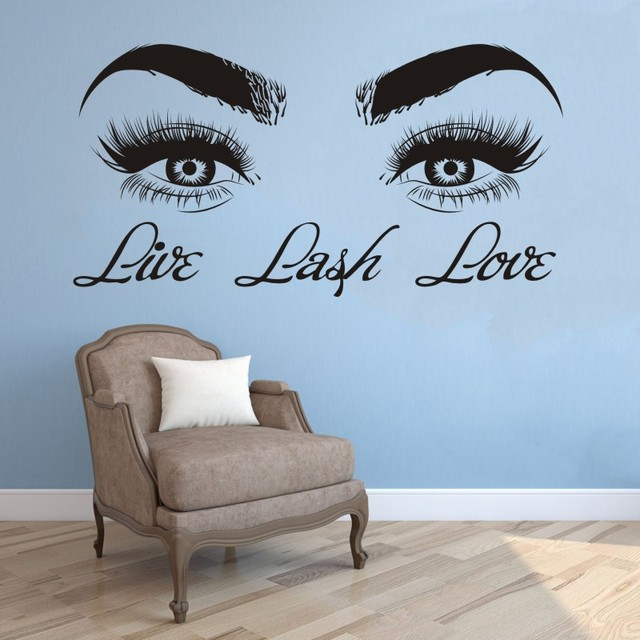 live lash love wall sticker vinyl decals lashes eyes decor beauty