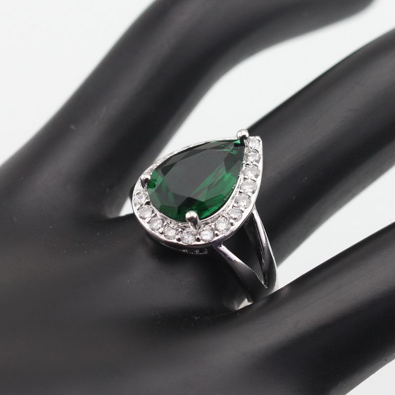 WPAITKYS Drop Water Trendy Green Cubic Zirconia Silver Color Ring For Women Party Crystal Jewelry Size 6 7 8 9 10 Free Gift Box 6
