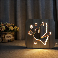 3D Novelty animal pigeon woods lamp