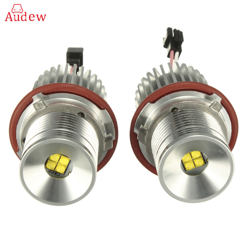2Pcs 40W High Power LED Chip LED Marker Angel Eyes Halo Ring Light Lamp Bulbs  Error Free White For BMW E87 E39 E60 Headlight 2 pieces high quality new 2x 80w led marker angel eyes bulbs case for bmw e92 h8 error free