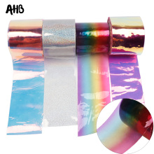 AHB 75MM Jelly Ribbon Laser Transparent PVC Rainbow for Home Decorative DIY Hair Bow Materials 2yards/bag