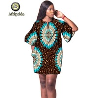 2019 african dresses for women fashion design new african bazin embroidery design dress mini dress plus size AFRIPRIDE S1925041