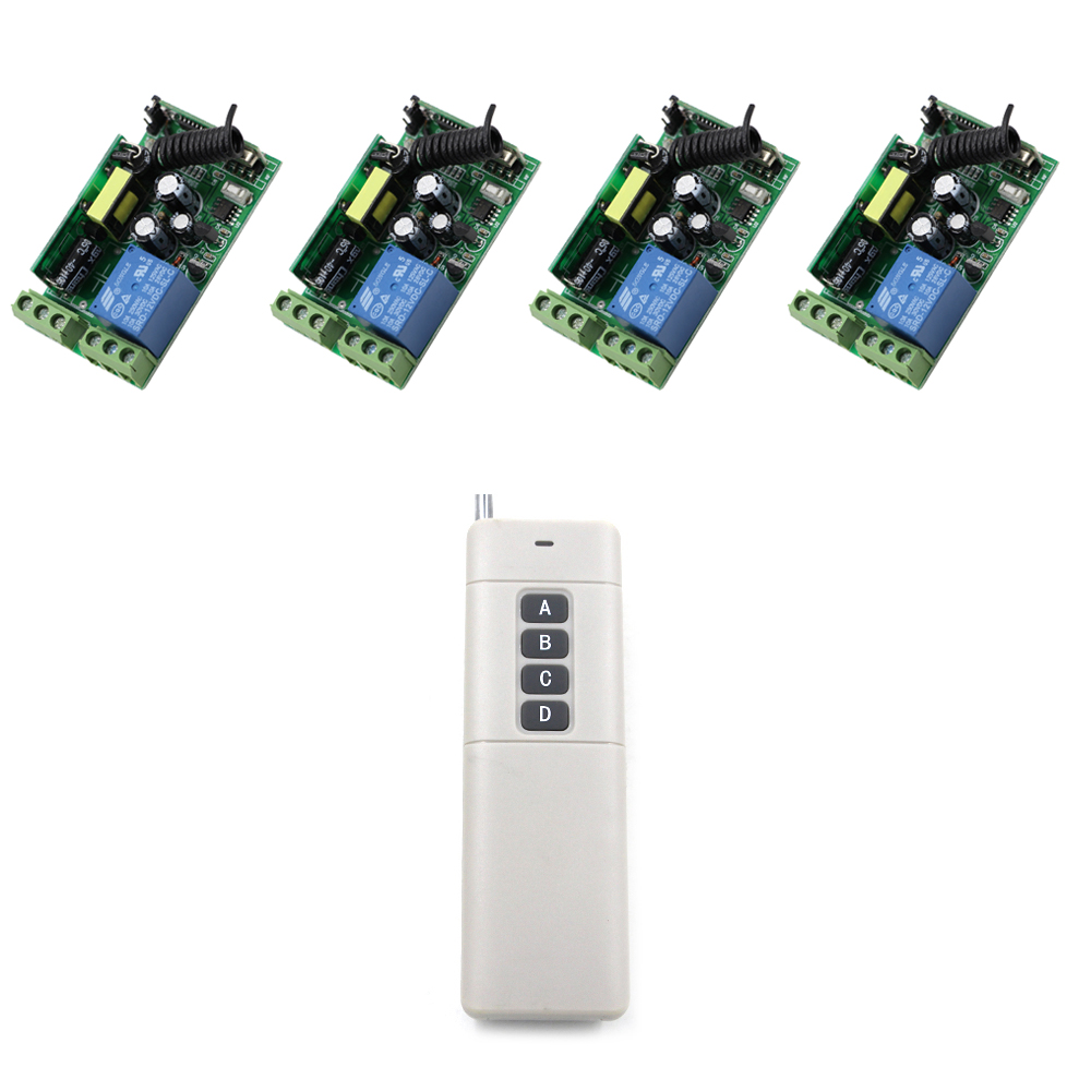 2017 New 10A 1 CH RF Wireless Remote Control Switch Easy Connection 4pcs Receiver+1pcs Transmitter Long Range 1000m 1 pcs full range multi function detectable rf lens detector wireless camera gps spy bug rf signal gsm device finder