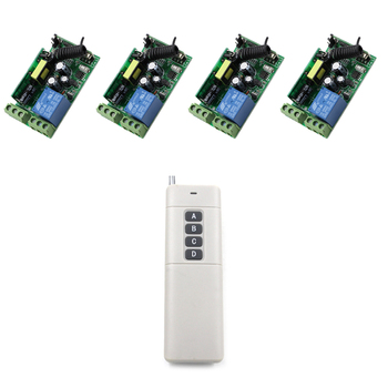 2017 New 10A 1 CH RF Wireless Remote Control Switch Easy Connection 4pcs Receiver+1pcs Transmitter Long Range 1000m