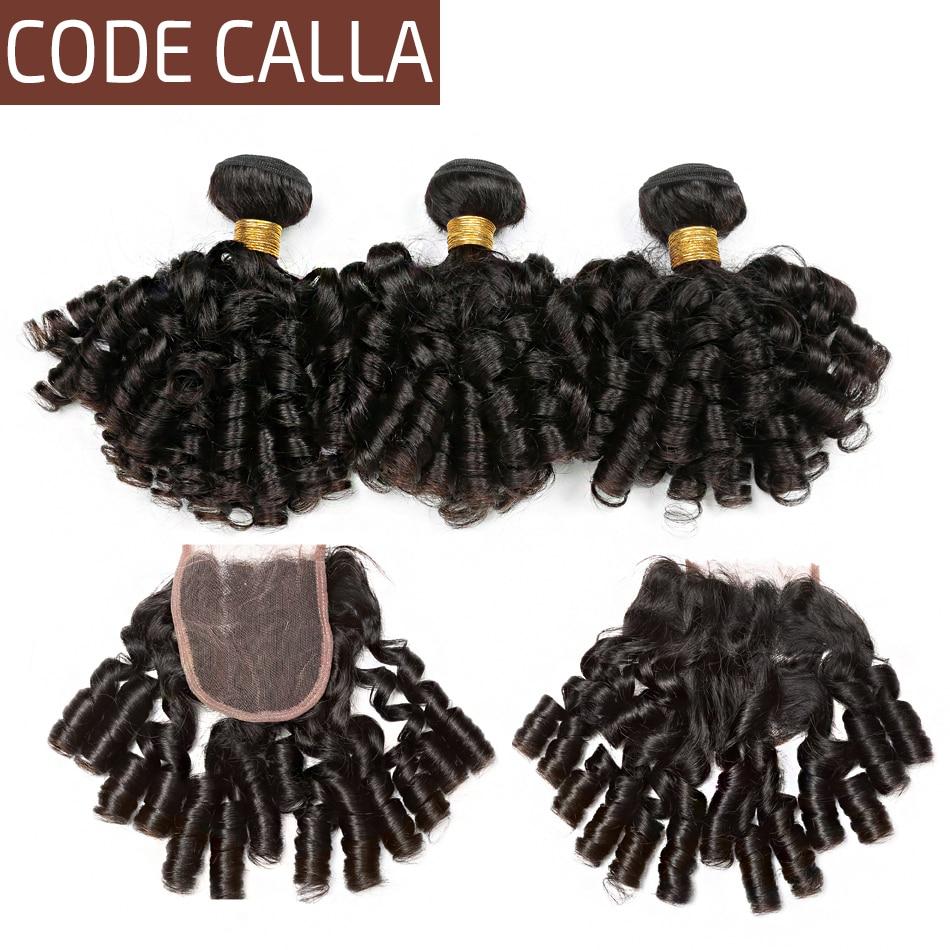 Code Calla Brazilian Raw Virgin Human Hair Extension Bundles With Lace Closure Loose Bouncy Curly Natural