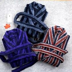 Зимний утепленный хлопковый мужской банный халат, плюс размер XXL, банный халат, флисовый халат, Мужская Ночная рубашка, кимоно, Homme