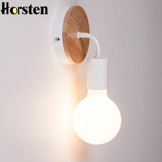 Aliexpress Com Buy Horsten Modern Minimalism Wall Lamp Nordic Wood Painting Process Ac90 260v E27 Holder Home Bedroom Restaurant Study Lighting From