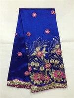 Новинка 2017 года Бесплатная доставка Классический дизайн Шелковый Джордж кружевной ткани, синяя нить вышивка Африки кружевной ткани для пра
