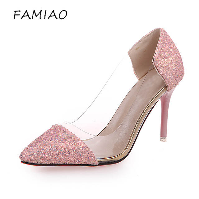 1fec7c291 placeholder FAMIAO Women Pumps 2018 Transparent High Heels Sexy Pointed Toe  Slip-on bling Wedding Dress
