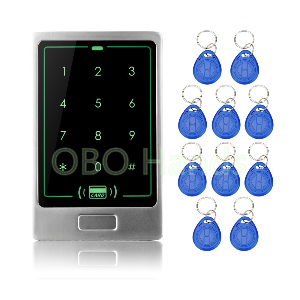Free shipping waterproof access control RFID touch metal door access control lock system with 10 key fobs em digital card lock free shipping touch rfid card access control stand alone single door system 10 piece rfid keyfobs