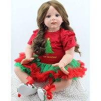 Simulation Baby Doll Silicone Reborn Dolls Christmas Cloth Girl Newborn 60cm Kids Doll Gift Toys Doll