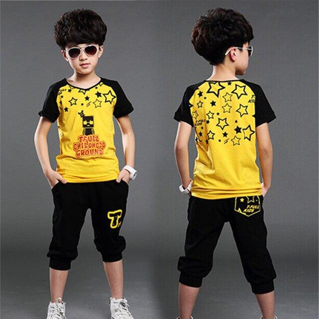 2016 новое лето в стиле мальчик печать звезды спорта комплект одежды с коротким рукавом + брюки мальчик школы одежда устанавливает горячая распродажа
