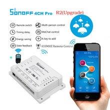 SONOFF 4CH Pro R2 беспроводной многоканальный wifi переключатель для умного дома домашней автоматизации модуль управления Лер 433 МГц дистанционное управление