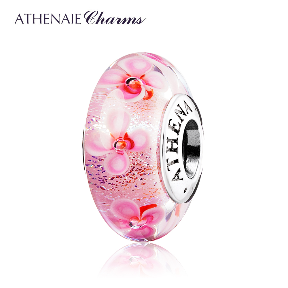 ATHENAIE 100% 925 Sterling Silver Core Pink Field of <font><b>Flowers</b></font> Color Pink Murano Glass Beads Fit European Bracelets Bangle
