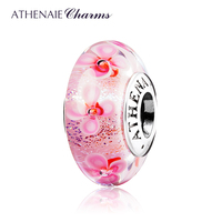 ATHENAIE Murano Glass 925 Silver Core Pink Field Of Flowers Charms Bead Color Pink