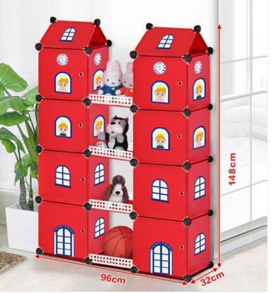 Armoire combinatoire Simple. Château de dessin animé pour enfants villa jouets vêtements. Conteneur de stockage