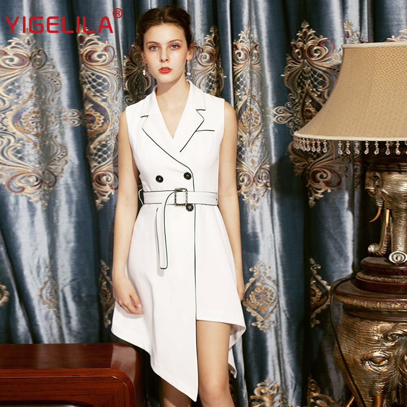 YIGELILA Asymmetrical Hem Empire Slim Belt Suit Dress 64166
