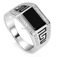 Eulonvan black ring men 925 sterling Silver ring white Cubic Zirconia and Black Resin jewelry SS--3778 sz#7 8 9 10 11 luxurious