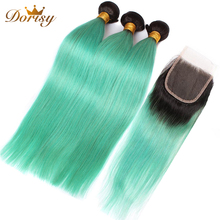 T1b Green Ombre Bundles With Closure Straight Human Hair Bundles With Closure Lace Closure With Malaysia Remy Hair Bundles