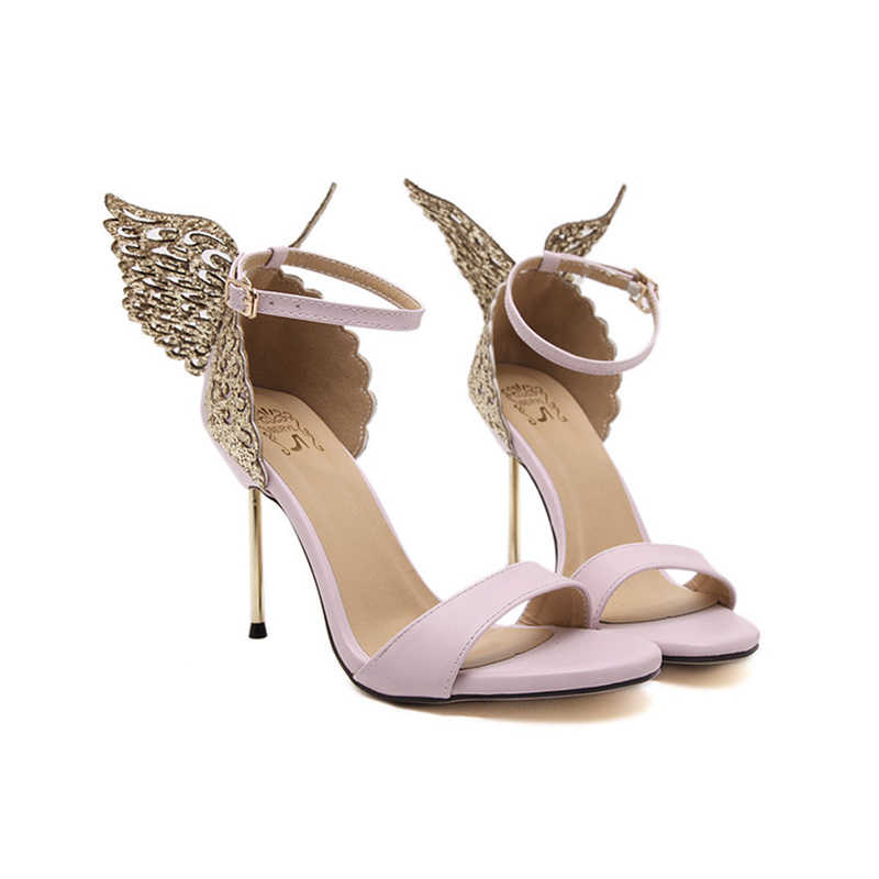 NIUFUNI 2020 tatlı kadın sandalet kelebek ince yüksek topuklu ayakkabılar kadın yaz bayan pompaları burnu açık parti düğün ayakkabı