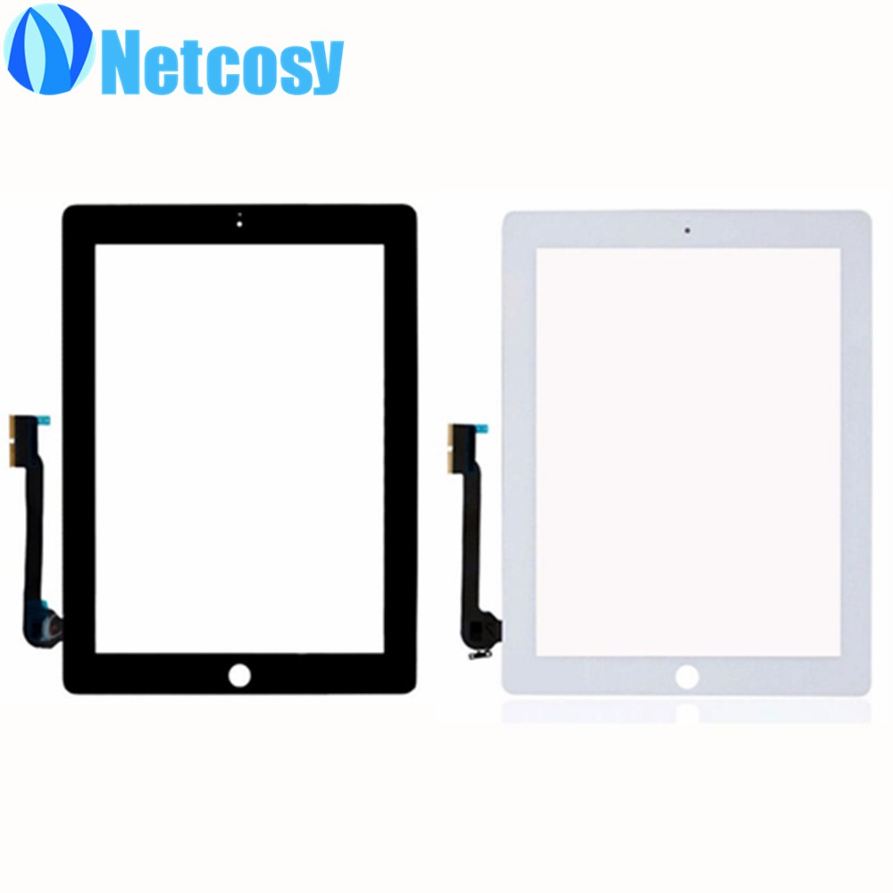 For ipad 3 4 Touchscreen Black white touch screen digitizer glass replacement parts for ipad 3