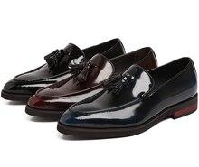 Pai's Sapatos Preto/vermelho/vinho azul mocassins mens vestido sapatos de couro genuíno sapatos de negócios dos homens sapatos de casamento com borla