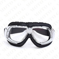 MJmoto Universal Motorcycle Glasses Leather Unisex Pilot Motorbike Off Road Motocross Goggles Outdoor Sport Dirt Bike