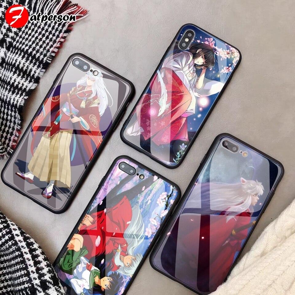 犬夜叉 Diy 電話ケース Iphone 7 8 6 S プラス Capa 強化ガラス