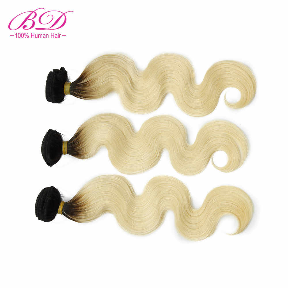 BD pelo 1B/613 onda del cuerpo paquetes de cabello humano 3 pc/lot raíz oscura Ombre Rubio peruano Remy paquetes de cabello oferta