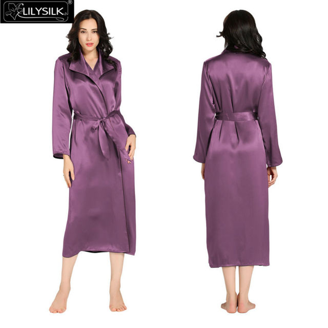 Lilysilk Natural 100% Silk Women Long Bride Robe 22 Momme Long Sleeve Classic Pure With Belt Wedding Bathrobe Sleepwear Autumn