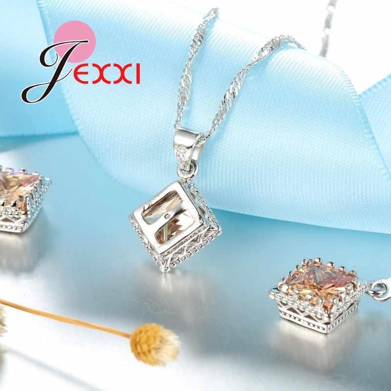 Antiken Stil 925 Sterling Silber Hochzeit Schmuck-Sets für Frauen Bräute Raute Cubic Zirkon Stein Anhänger Halskette Ohrringe