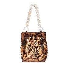 New Bag Clear Pvc Plastic Bucket Acrylic Chains Vintage Party Clutch Women Shoulder Handbag Leopard